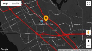 A directional map to Fear Overload Scream Park depicting Bayfair Center and the Bayfair BART station.