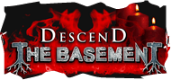 The Descend the Basement attraction logo, engulfed in flames.