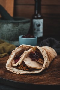Smoked Turkey wrap (with sage and onion stuffing and cranberry sauce)