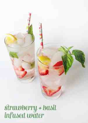 STRAWBERRY BASIL INFUSED WATER- healthy infused fruit water from feastandwest.com