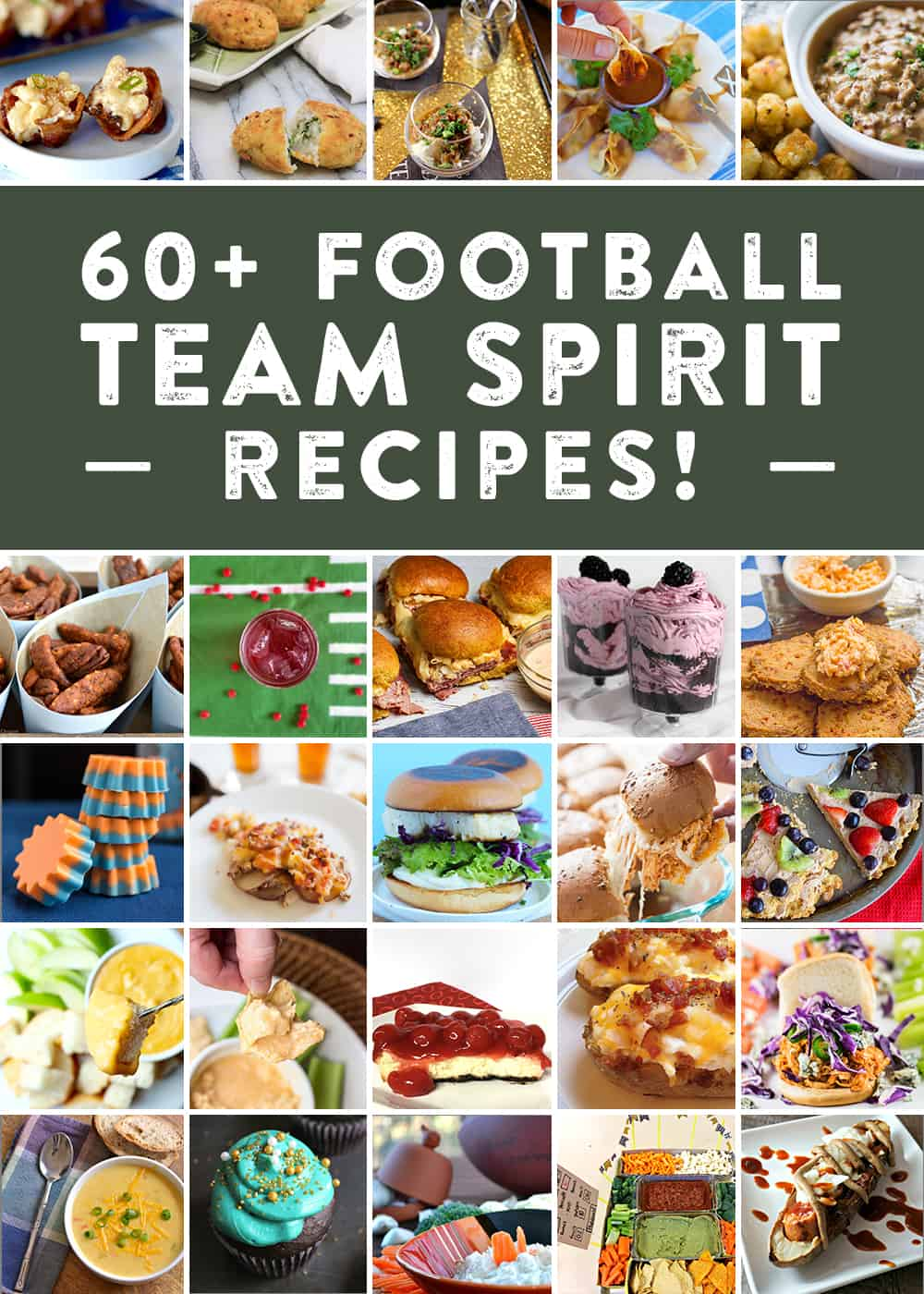 60+ recipes inspired by football teams! Show off your team spirit with everything from appetizer recipes, entree recipes, cocktail recipes, dessert recipes, side dish recipes and more as you cheer on your team! #foodiefootballfans