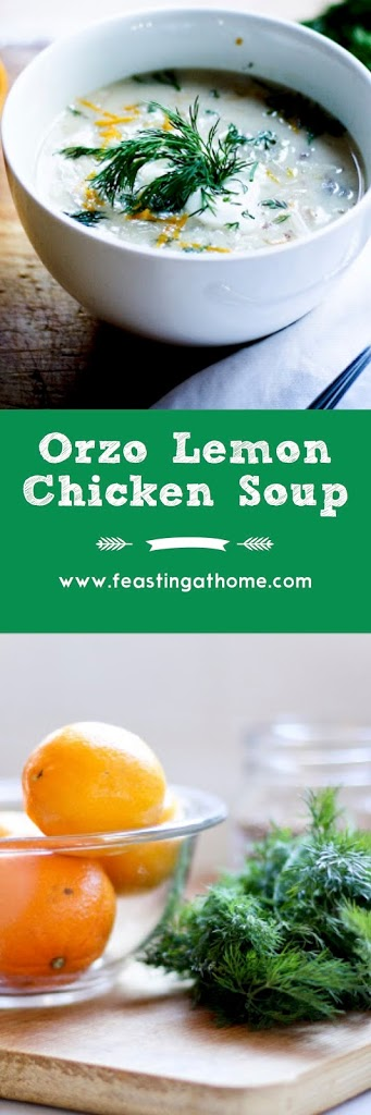 Lemony Chicken Soup with Orzo, Dill and Coriander| www.feastingathome.com