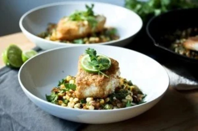 Cornmeal Crusted Fish ( or TOFU) with Fava Bean and Summer Succotash, and lime and cilantro - a delicious meal using fresh farmers market ingredients. | www.feastingathome.com
