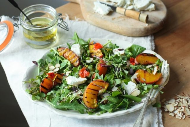 Grilled Peach and Arugula Salad with basil and a White Balsamic Vinaigrette -a simple tasty recipe using fresh seasonal peaches!