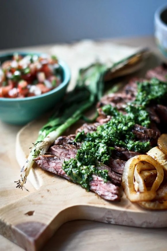 Grilled Steak Tacos with Cilantro Chimichurri Sauce....flavorful and delicious, perfect for outdoor gatherings and barbecues. | www.feastingathome.com