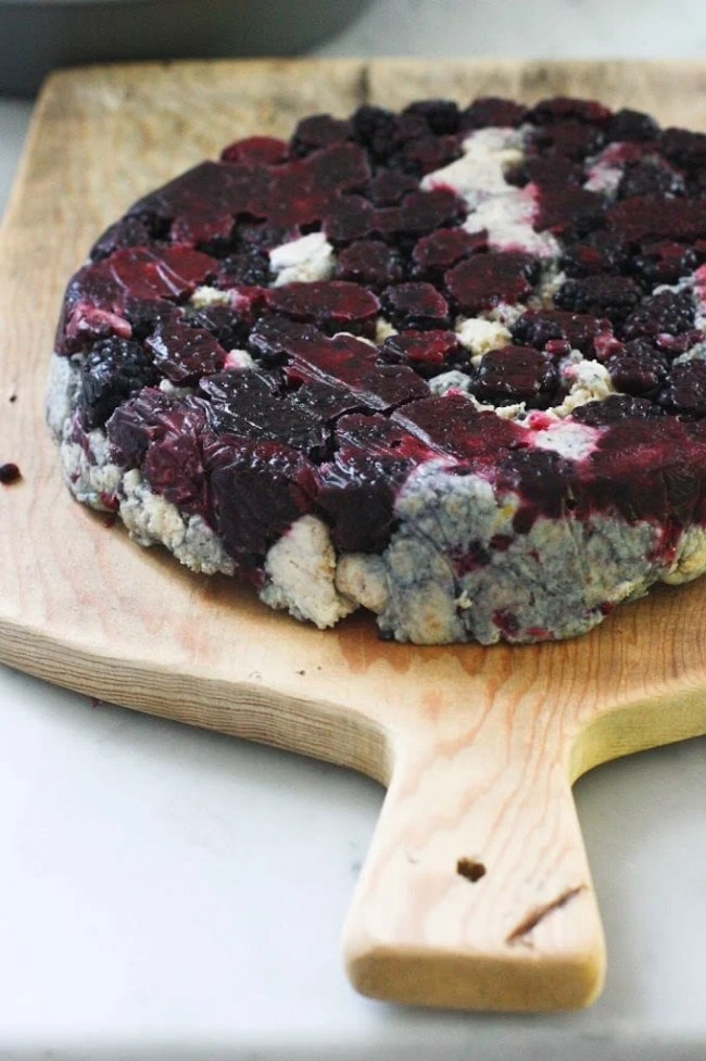 Blackberry Sourdough Scones with Lemony Glaze- plus a little baking tip to help keep blackberries in tact! | www.feastingathome.com