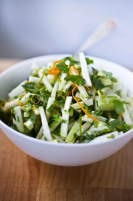 Kohlrabi Salad with cilantro lime dressing. Vegan, GF | www.feastingathome.com