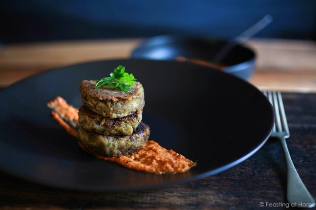A delicious recipe for Romesco Sauce. Serve it with Roasted Cauliflower Steaks, roasted Potatoes, or these Sweet Potato Cakes- EASY & flavorful! GF, Vegan | www.feastingathome.com