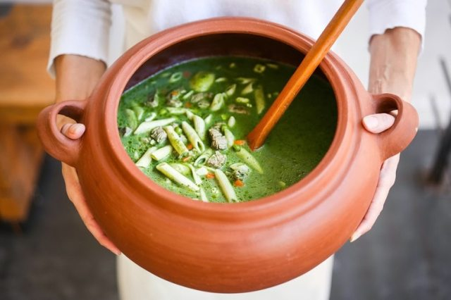 A delicious recipe for Peruvian Minestrone Soup - made with a fragrant basil broth. Healthy and flavorful! www.feastingathome.com