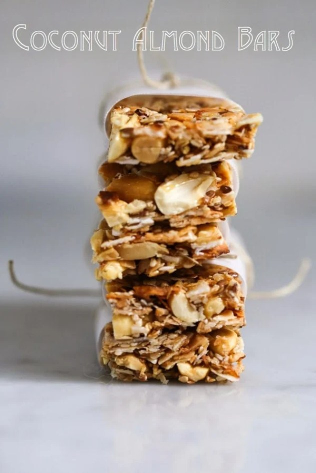 "A simple tasty recipe for Coconut Almond Bars, similar to ""Kind Bars"". Gluten Free, sugar free, sweetened with honey. 