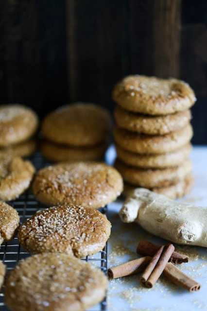 A delicious recipe for chewy triple ginger cookies, with three kinds of ginger- ground, fresh and candied with white pepper and cardamom.| www.feastingathome.com