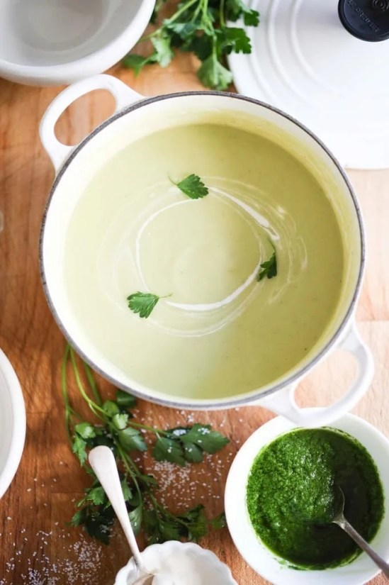 A delicious recipe for Celeriac and Fennel soup with Parsley oil and optional creme fraise | www.feastingathome.com