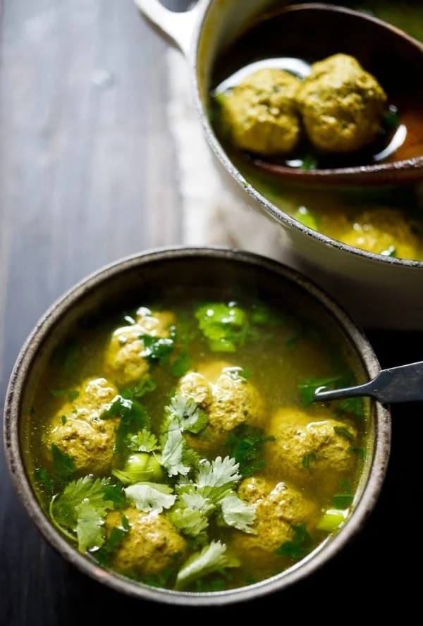 Middle Eastern Meatball Soup with Cilantro and Lime - with the most delicious broth! Make with turkey, lamb, beef or chicken. | www.feastingathome.com