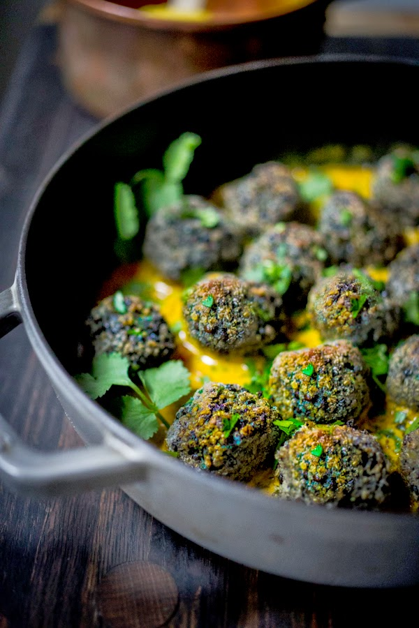 Vegan Lentil Meatballs with Fenugreek Sauce- so tasty!! A delicious healthy meal full of great Indian flavors! | www.feastingathome.com