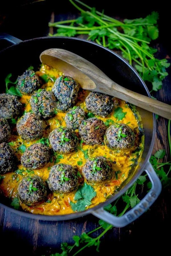 Vegan Lentil Meatballs with Fenugreek Sauce- so tasty!! A delicious healthy meal full of great Indian flavors!   www.feastingathome.com