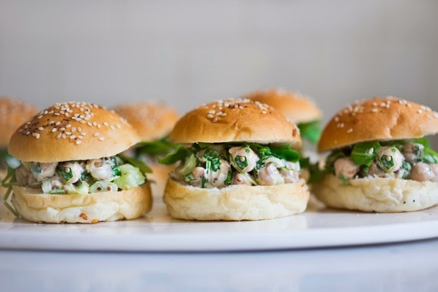 Cilantro Chickpea Salad Sliders - flavorful vegan appetizer ( or lunch) that wi EASY and fast! | www.feastingathome.com