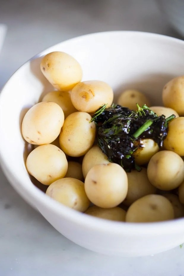 Grilled Potato Salad with Black Garlic and Chives