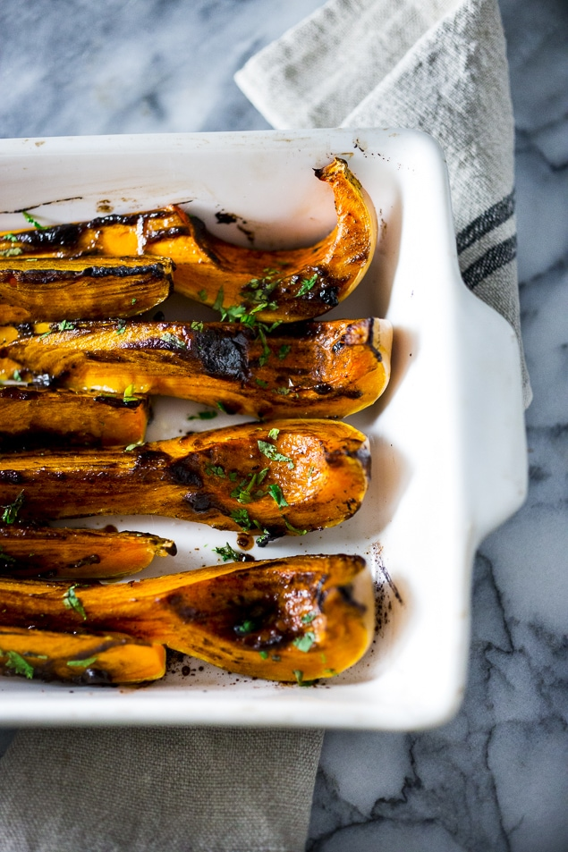 Roasted Butternut w/ Black garlic and Miso...a delicious, easy fall side dish, that is vegan and gluten free. | www.feastingathome.com #butternut #thanksgiving #sidedish #vegan