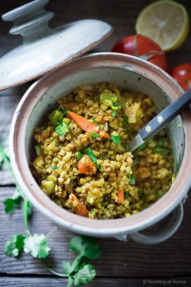 A simple healing recipe for Khichadi, an Ayurvedic Detox Bowl ( also called Khichari) made w/ mung beans, kashi, detoxing veggies & soothing turmeric. Vegan and GF | www.feastingathome.com