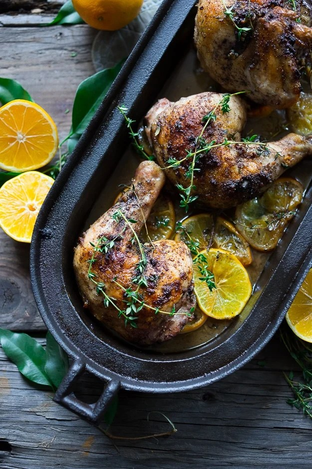 Roasted Sumac Chicken with Meyer Lemons...juicy flavorful middle eastern chicken dish that will make your mouth water!  Gluten free.|  www.feastingathome.com