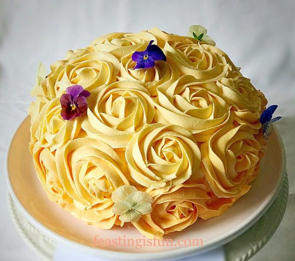 Orange Lemon Ombre Piped Rose Cake Feasting Is Fun