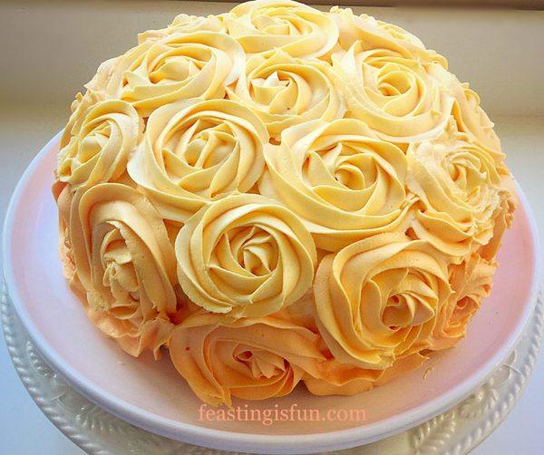 Orange Lemon Ombre Piped Rose Cake - Feasting Fun