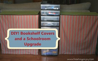 {DIY} Book shelf covers and schoolroom upgrade!