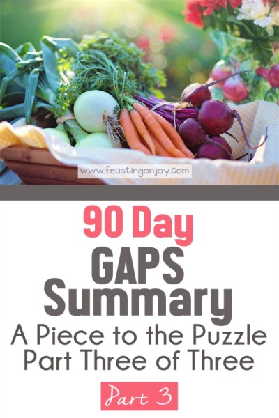 90 Day GAPS Summary { A Piece to the Puzzle Part Three of Three}   Feasting On Joy