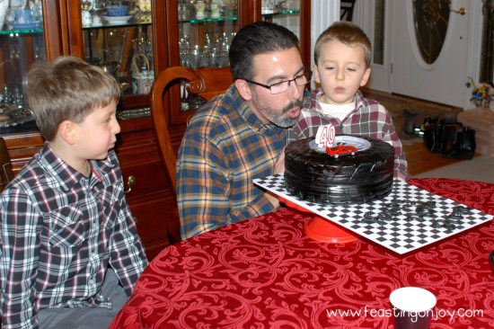 Steve Blowing out His 40th Birthday Party Candles