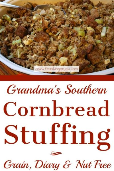 Grandma's Southern Cornbread Stuffing {Grain, Dairy & Nut Free} | Feasting On Joy