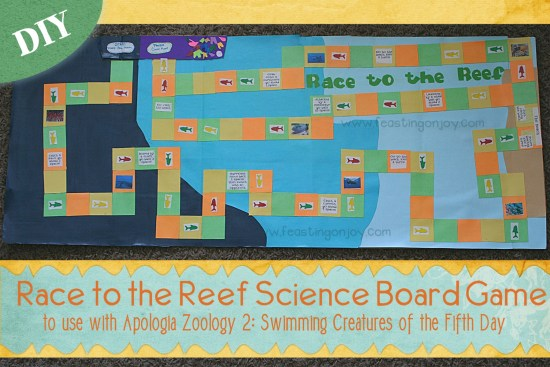 DIY Race to the Reef Science Board Game to Use With Apologia Zoology 2 Swimming Creatures of the Fifth Day