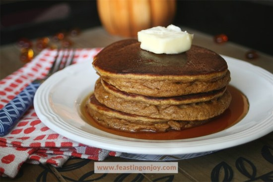 Thick and Fluffy Pumpkin Pancakes {Paleo, Nut & Dairy Free} 2 | Feasting On Joy