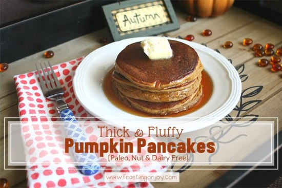 Thick and Fluffy Pumpkin Pancakes {Paleo, Nut & Dairy Free} 1 | Feasting On Joy