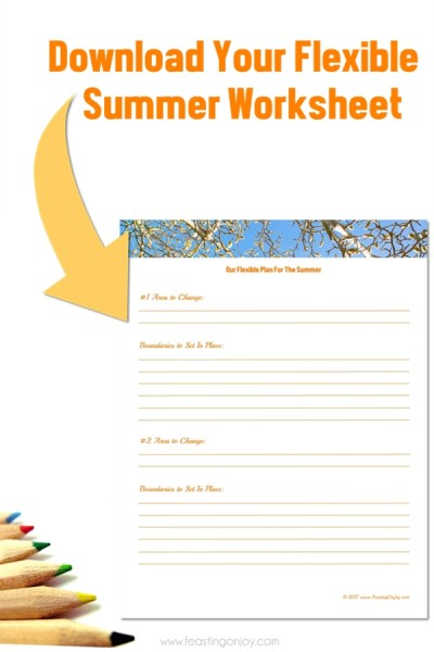 Download Your Flexible Summer Worksheet | Feasting On Joy