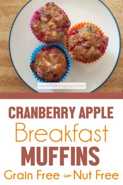 Cranberry Apple Breakfast Muffins {Grain Free & Nut Free} | Feasting On Joy