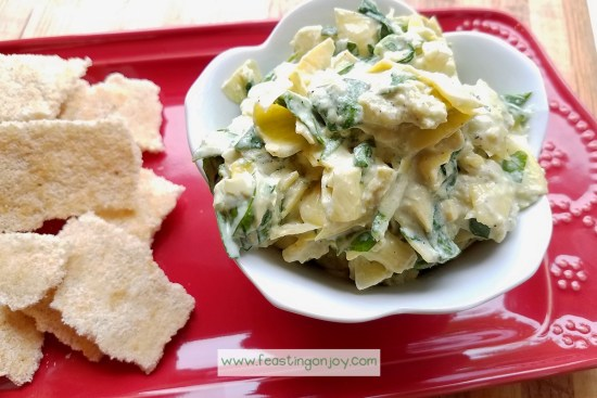 Creamy, Diary Free Spinach Artichoke Dip 1 | Feasting On Joy
