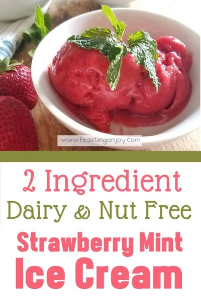 2 Ingredient Dairy & Nut Free Strawberry Mint Ice Cream | Feasting On Joy