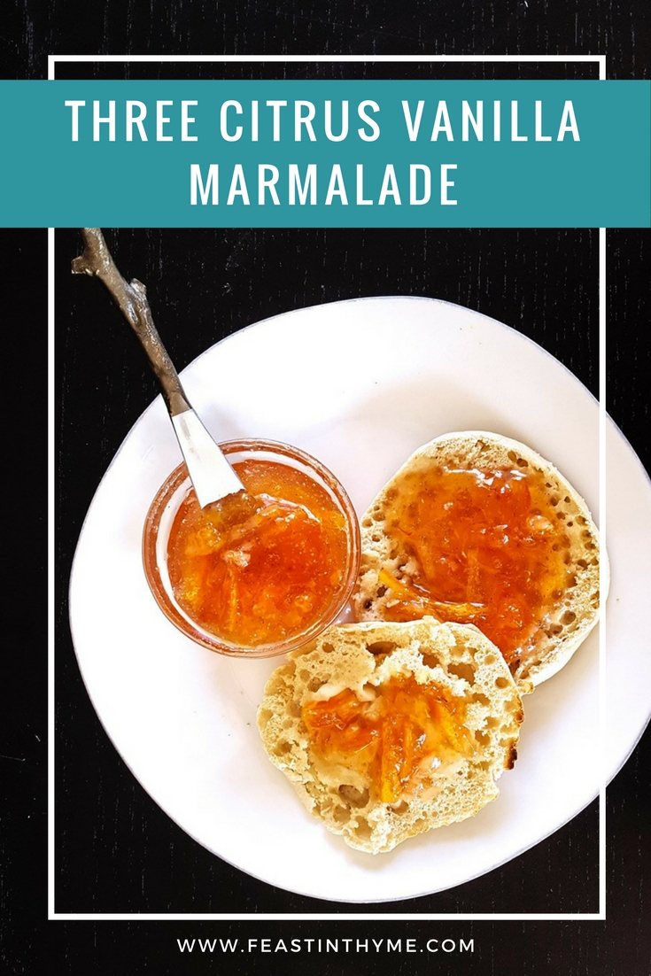 Winter citrus is my favorite way to brighten the gloom of the season. Make this sweet, colorful, and highly adaptable Three Citrus Vanilla Marmalade any time you need a little pick-me-up or a lovely gift for family and friends! | FeastInThyme.com