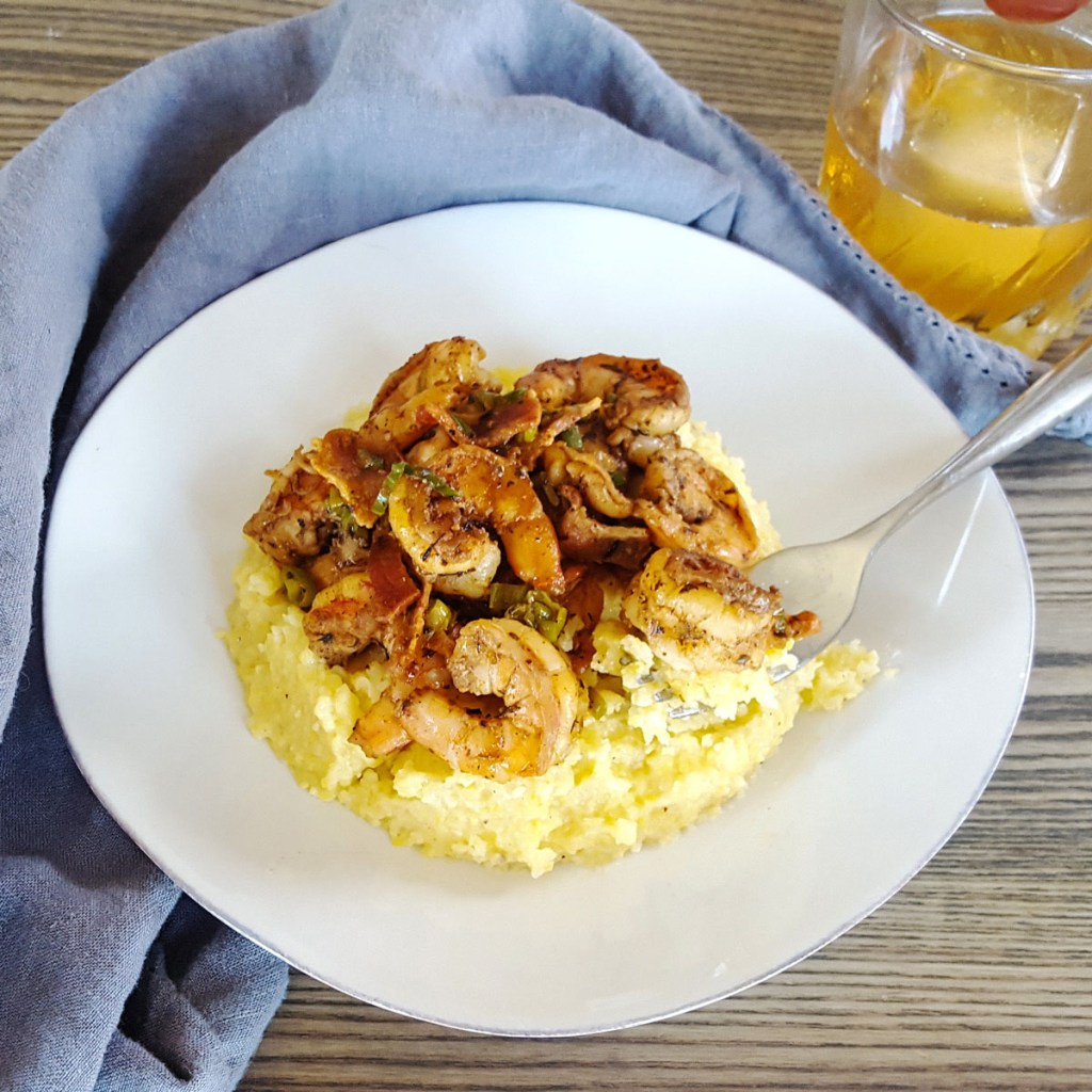 Bourbon Glazed Cajun Shrimp with Bacon and Cheddar Grits | Feast In Thyme