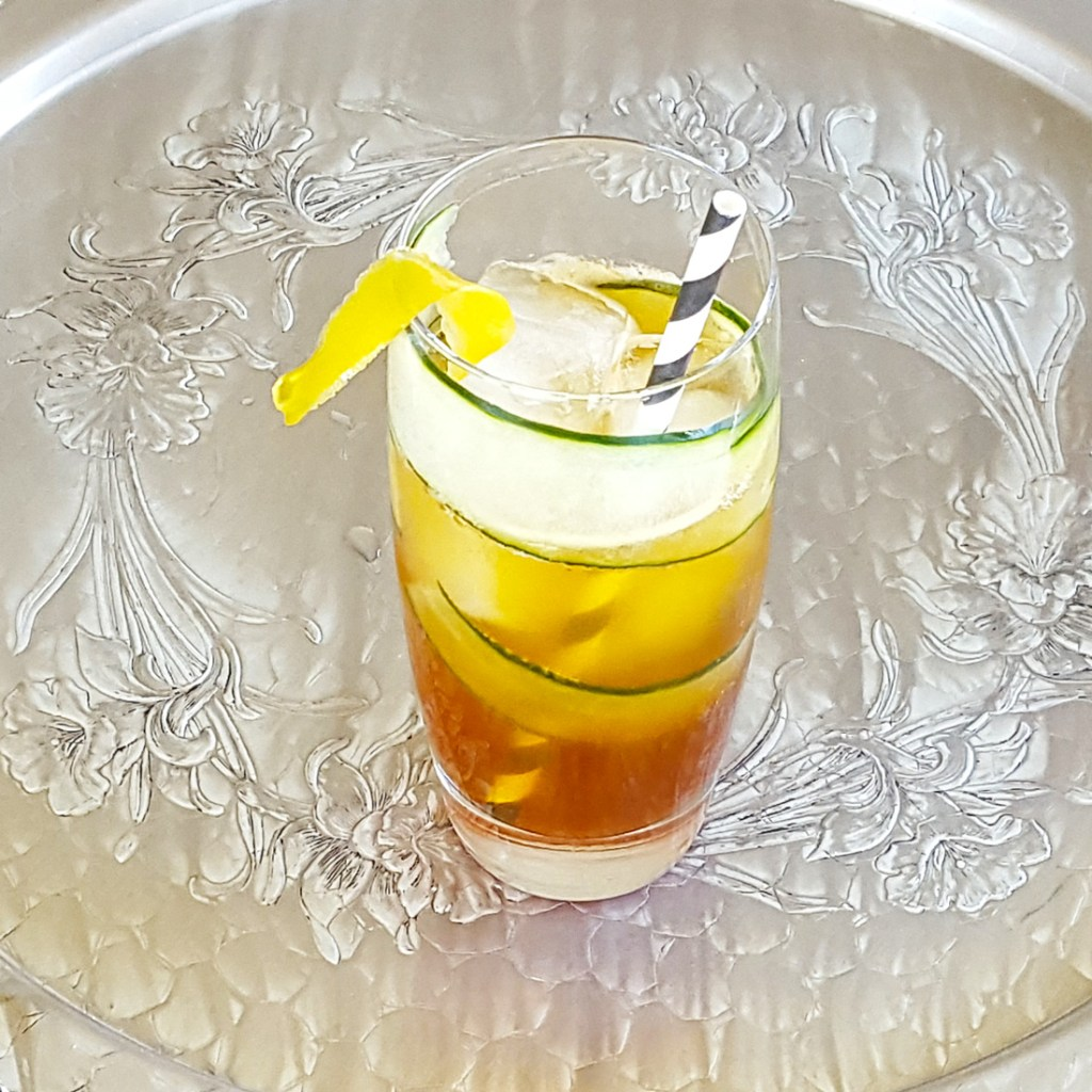 Pimm's Cup with Lemon Simple Syrup & Muddled Cucumber | Feast In Thyme