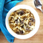 One Pot Beef Stroganoff Soup with Sauteed Mushrooms and Egg Noodles | Feast In Thyme