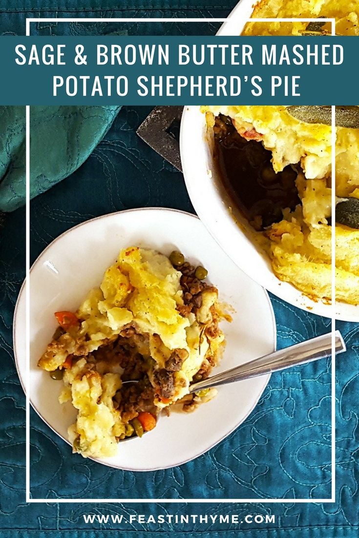 A comfort food like no other, this recipe for Shepherd's Pie with Guinness, Bacon, & Beef Filling is topped with creamy Sage & Brown Butter Mashed Potatoes.   FeastInThyme.com