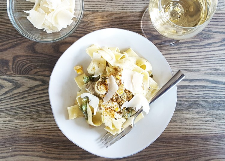 Creamy Mushroom & Roasted Asparagus Pappardelle with Panko and Preserved Lemon Crunch | Feast In Thyme