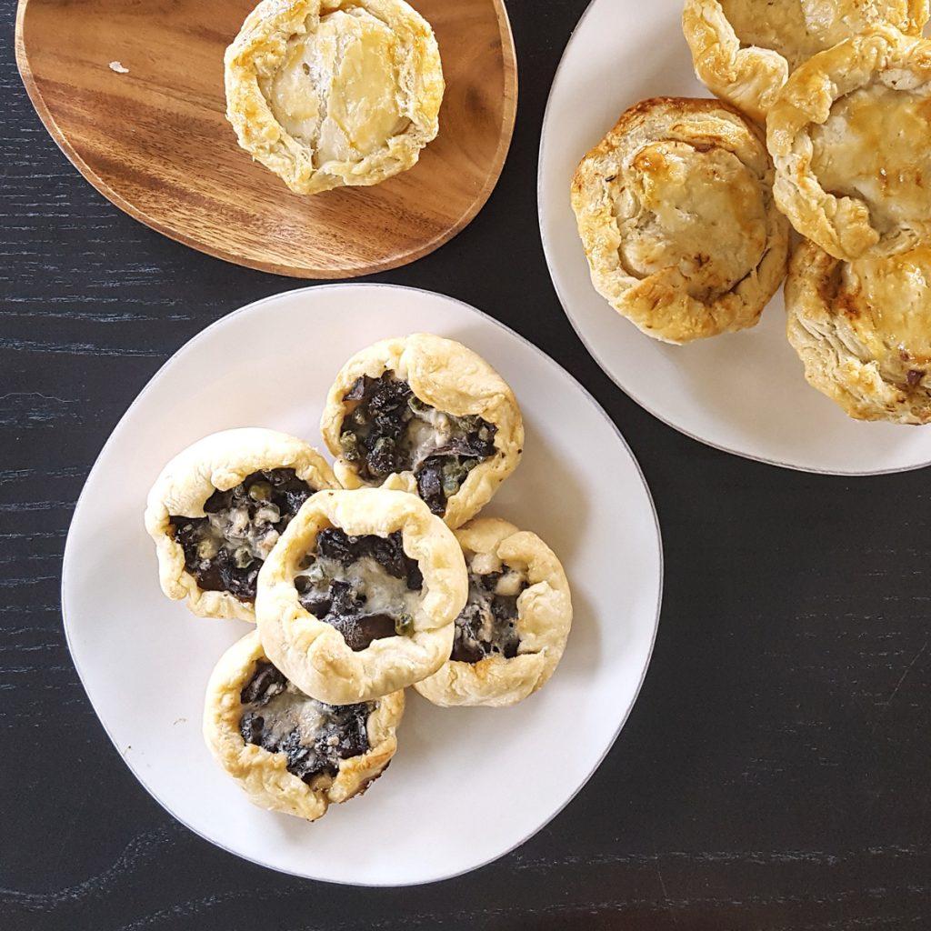 Mini Mixed Mushroom, Pea, & Gruyere Picnic Pies (Vegetarian)   FeastInThyme.com