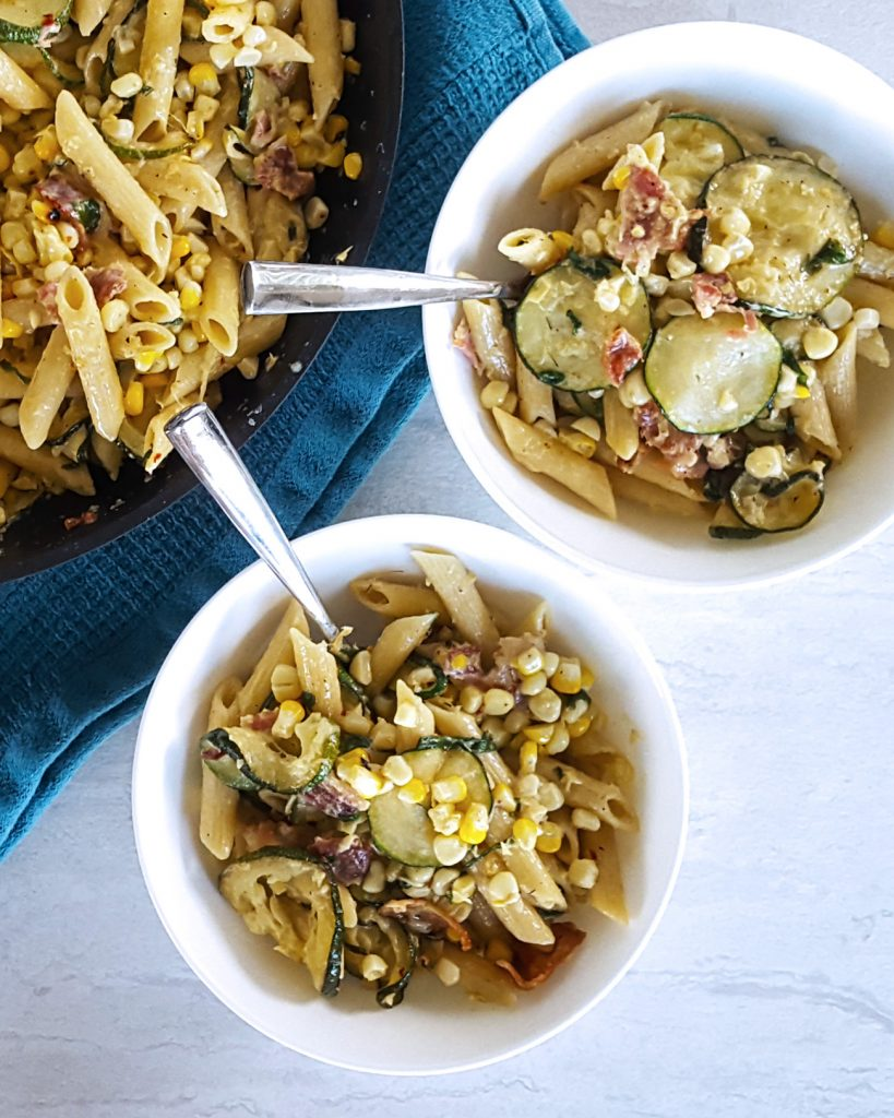Creamy Corn & Zucchini Summer Skillet Pasta | Feast In Thyme