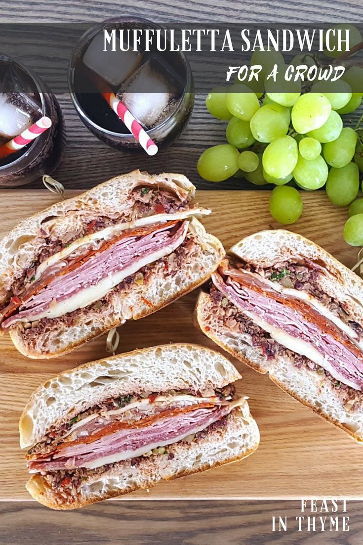 Accompanied by a homemade spread of marinated olives, artichokes, red wine vinegar, and spices, this Pressed Muffuletta-Style Sandwich is the perfect thing to bring to any picnic or day at the beach. Made to travel and full of flavor, your friends and family will love this elevated take on their typical Italian cold cut sandwich.