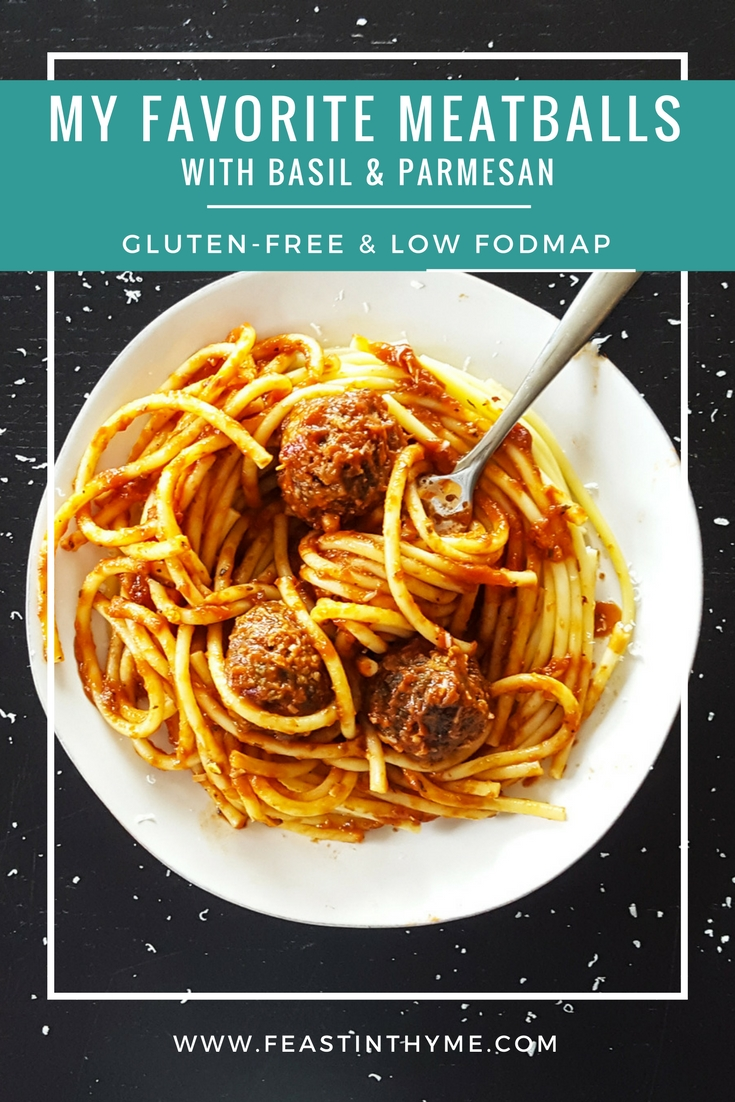 Family-friendly and tasty enough for company, My Favorite Meatballs with Basil & Parmesan are an easy make-ahead weeknight meal [#GlutenFree & #LowFODMAP] #meatballs #fodmap #italian #GF | FeastInThyme.com