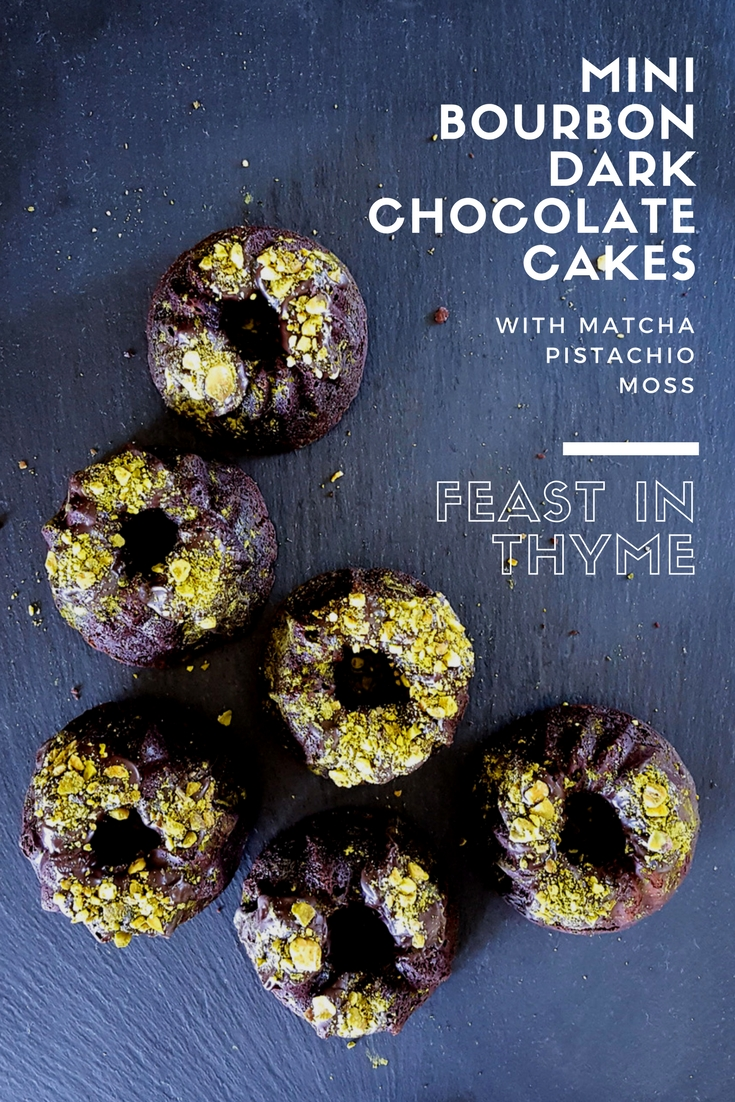 You don't have to choose between tricks or treats with this special dessert! Delicious & decadent, Mini Bourbon Dark Chocolate Cakes with Matcha Pistachio Moss are an eerie and whimsical addition to any Halloween Party. #halloween #faeries #bourbon #chocolate | FeastInThyme.com