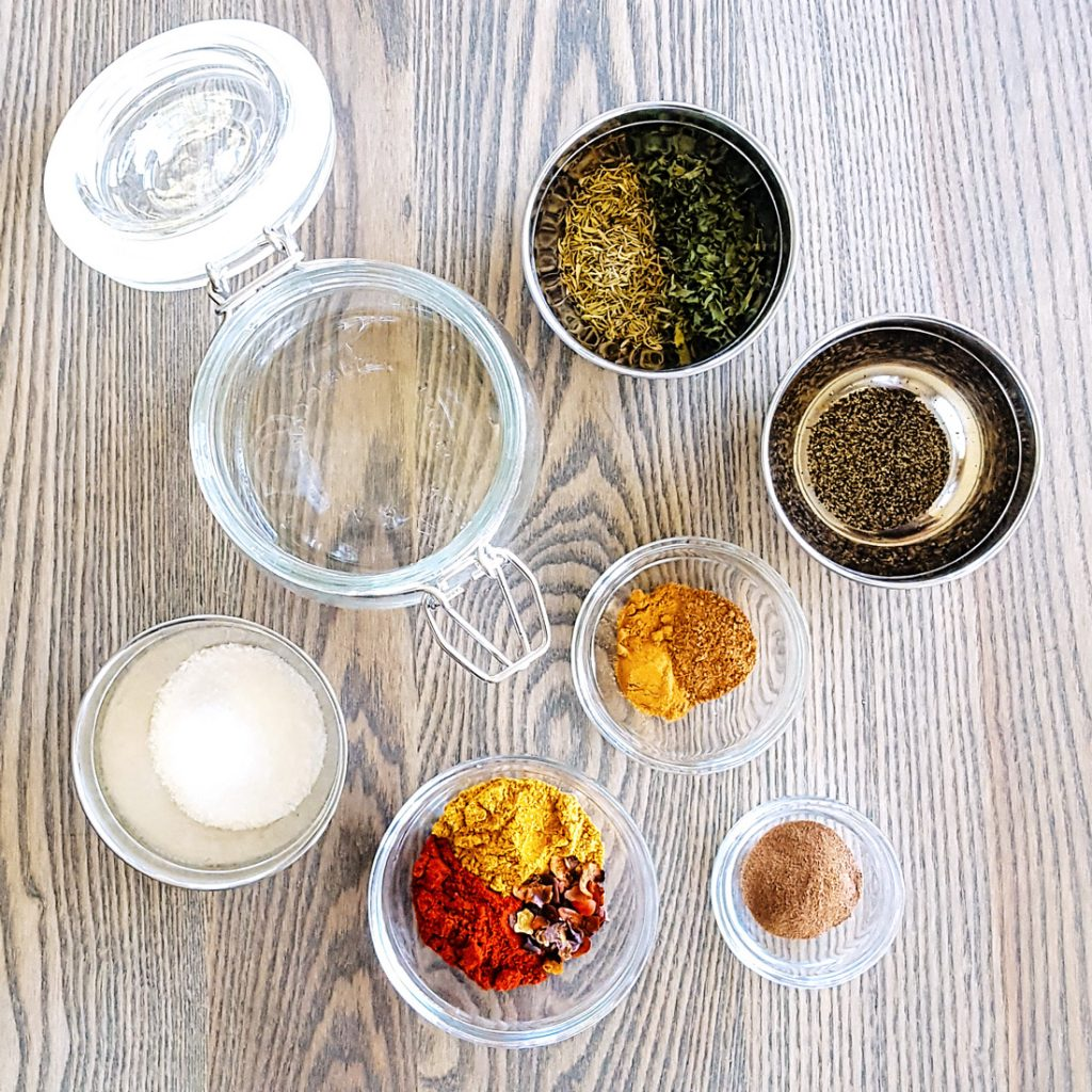 Ingredients for the Low FODMAP Jerk Seasoning Spice Blend. #Caribbean #lowfodmap #fodmap #spice #recipe | FeastInThyme.com