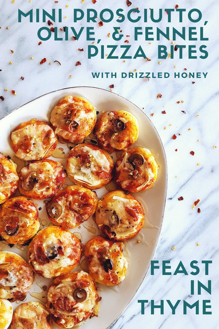 Drizzled with honey, these Mini Prosciutto, Olive, & Fennel Pizza Bites are a salty-sweet combination of classy ingredients and classic #comfortfood – An upscale addition to any #party menu. #pizzaparty #superbowl #gameday | FeastInThyme.com